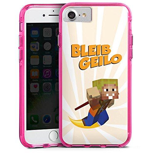 Apple iPhone X Silikon Hülle Case Schutzhülle LPmitKev Fanartikel Merchandise Bleib Geilo Weiß Bumper Case transparent pink