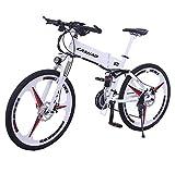 MYYDD Elektrisches Mountainbike, 26 Zoll Falte-E-Bike 350W 24 Speeds Citybike Commuter Bike mit 36V 10Ah Ressable Lithium-Batterie,White