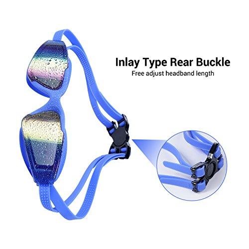 Schwimmbrille Schwimmbrille Reflektierende Linse Brille Uv-Schutz Anti-Fog Bruchsicher Kein Auslaufen für Männer Frauen Jugend Kinder - Blau -
