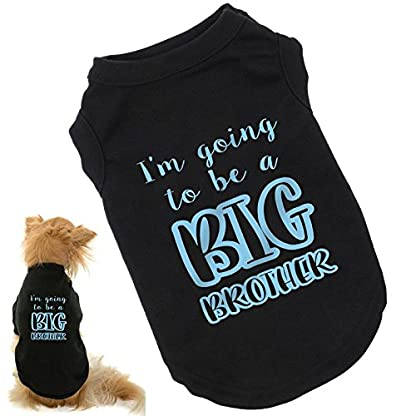 I'm Going To Be A Big Brother Dog T-Shirt, cute baby reveal announcement shirt for dogs, range of sizes from small pups… 1