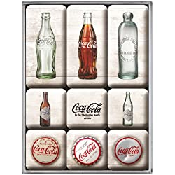 Nostalgic-Art 83082 Lot de 9 aimants Thème chronologie des Bouteilles Coca Cola