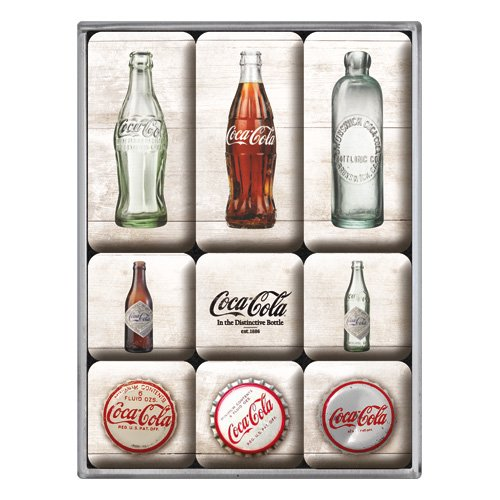 Nostalgic-Art 83082magnético Juego de Coca-Cola Bottle Timeline, 9Piezas