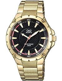 Q&Q Analog Black Dial Designer Gold-Metal Watch For Men-Q960N002Y