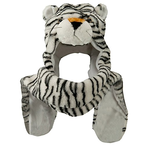 Honeystore Unisex Frauen Mädchen Kinder Winter Warm Plüsch Tier Ohrenschützer Hüte Mützen Weihnachten Halloween Kostüm Geschenk Weiß Tiger
