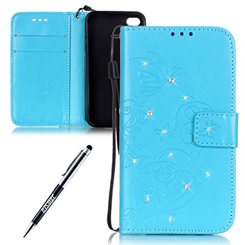iPhone 4S Custodia, iPhone 4 Custodia, iPhone 4/4S/4G Custodia in Pelle Portafoglio, JAWSEU [Shock-Absorption][Anti Scratch] Lusso 3D Goffratura Fiore Farfalla Wallet Pouch PU Leather Flip Cover Custo Blu