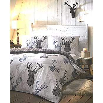 TARTAN STAG GREY WITH TARTAN REVERSE DUVET SETS QUILT COVER SETS FREE P/&P