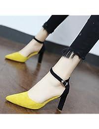 Xue Qiqi Escarpins Rivets élégant chaussures unique et polyvalent, fine pointe de nuit avec des talons hauts chaussures femmes tide,37, noir