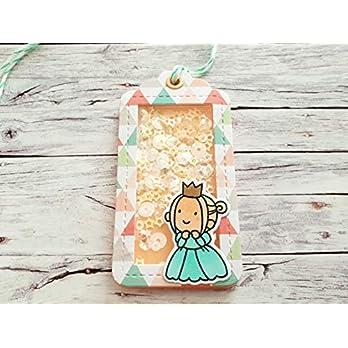 Geschenkanhänger, Shaker Gift Tag Prinzessin in zarten Pastellfarben, handgemacht