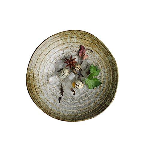Liuwenan Vajilla de cerámica Japonesa Plato del Plato Sombreros Sombreros Retro Tazón de gres del hogar Tazón Grande Tazón de Sopa Tazón de Fuente (Color : 21 * 5CM)