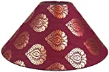 "RDC 13"" Round Maroon with Golden Designer Lamp Shade for Table Lamp or Floor Lamp"