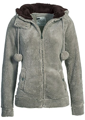 Urban Surface Damen Fleecejacke mit Öhrchen und Kapuze Mid Grey