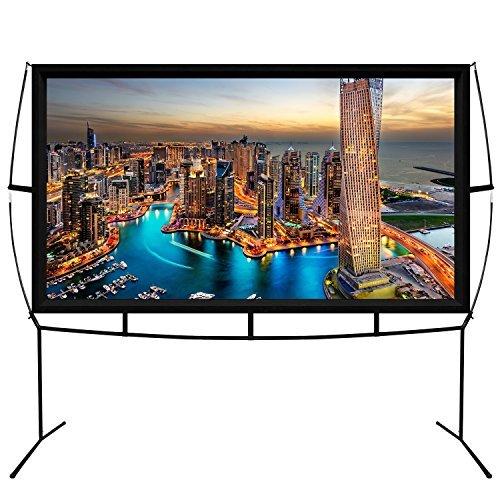KHOMO GEAR Beamer Leinwand Tragbar Großer Bildschirm 220 x 125 cm - 100 Zoll Diagonale - TV Projektor Bildschirm Für den Außenbereich und Innen Leinwand (100 Zoll Tv)