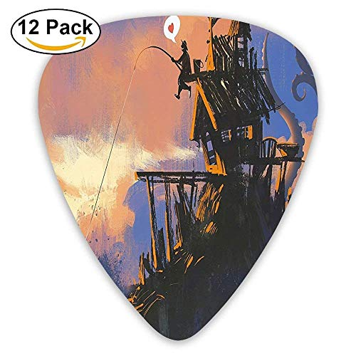 Fisherman Sitting On The Castle Standing Over Rocky Cliffs Haunted Paint Guitar Picks 12/Pack -