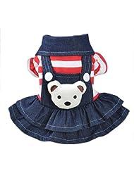 Sannysis pequeño perros accesorios ropa mascotas disfraces suéter para perros trajes de Halloween camisetas para perrito falda vaquera con correa Vestido de cachorro de perro (XS, Rojo)