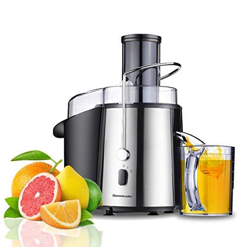Zentrifugalentsafter Edelstahl Saftpresse leistungsfähigen mit 850 Watt, 18000 Upm, Elektrischer Zentrifugal-Entsafter für Obst und Gemüse, BPA-Frei mit Tresterbehälter, Saftbehälter und Reinigungsbürste