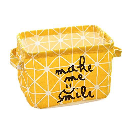 Westeng 1X Caja de almacenamiento de tela Mesa Organizador Cajón de tela Con mangos para papelería y maquillaje(Amarillo)