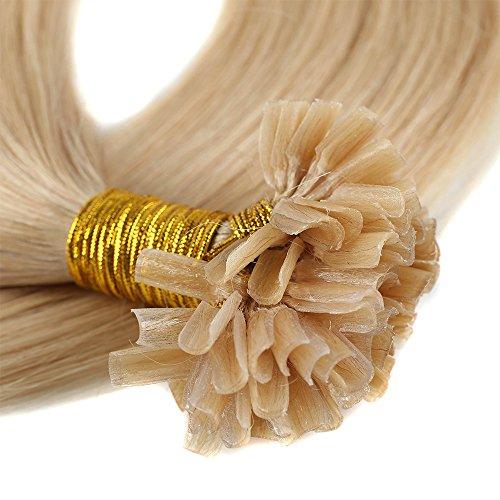 Bonding Extensions Echthaar Remy Haarverlängerung U-Tip 200 Strähnen Keratin Human Hair 100g-50cm(#24 Mittelblond) (Remy Extensions Indischen 24 Hair)