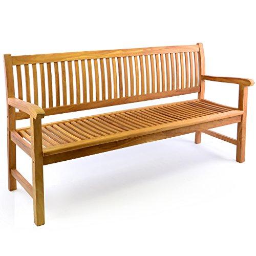 DIVERO 3-Sitzer Bank Holzbank Gartenbank Sitzbank 180 cm – zertifiziertes Teak-Holz behandelt hochwertig massiv – reine Handarbeit – wetterfest (Teak behandelt) - 5