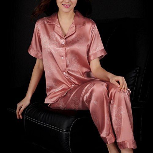 Zhhlaixing Comfortable Womens Silk Printing Pajamas Set Fashion Home Sleepwear Coral Red