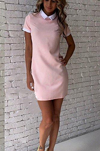 Frauen Ist Sommer Kurzärmelige Kragen Patchwork Stift Kleid Pink