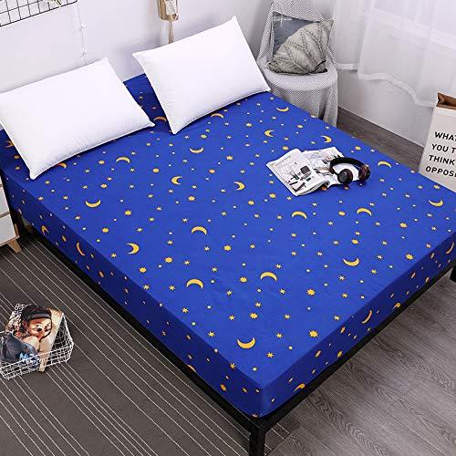 Matratzenschoner 100% Baumwolle,Matratzenschutz in verschiedenen Größen,Polyester Druck Blauer Stern Monat 80X200cmX25cm - Visco Pillow-top-matratze