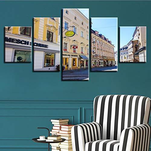 mmwin Wandkunst Poster Moderne Wohnkultur 5 Stücke Stadt Gebäude Wohnzimmer Leinwand HD Druck Landschaft Modulare Bilder Arbeit