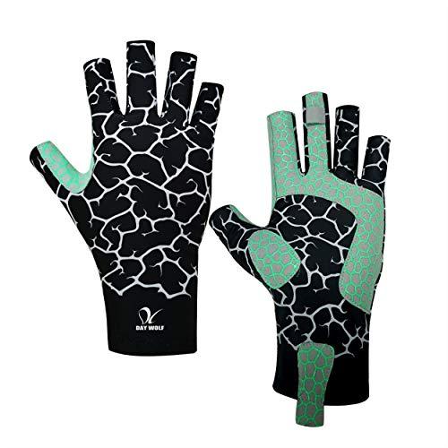 UV-Schutz Angelhandschuhe Atmungsaktiv Fingerlos UPF 50+ für Rudern im Freien Kajak Paddeln Wandern Radfahren Fahren Schießtraining für Männer und Frauen (S, Schwarze Linie) (Angeln-hand-linie)