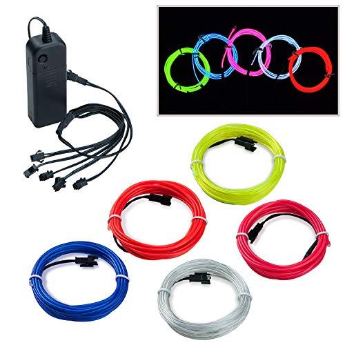 Covvy Wasserdicht Flexibel 5 * 1Meter Neon Beleuchtung Lichtschlauch Leuchtschnur EL Kabel Wire mit 3 Modis für Disco Party Kinder Halloween Kostüm Kleidung Weihnachtsfeiern (Mehrfarbig)
