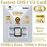Amplim 4X 32GB Micro SD SDHC U3 Memory Card Plus Adapter Pack (Class 10 U3 UHS-I MicroSD HC Extreme Pro) 32 GB Ultra High Speed 95/90MB/s R/W UHS-1 TF MicroSDHC 4K Flash for Phones, Drones, Cameras