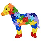 Pigloo Wodden Horse Puzzle Toy With A-Z English Alphabet And Numbers Puzzle
