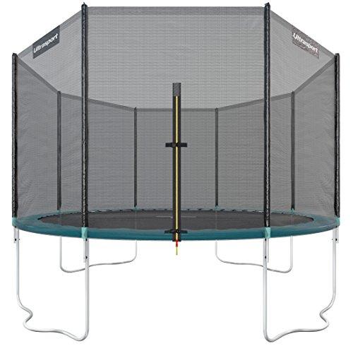 Ultrasport Outdoor Gartentrampolin Jumper, Trampolin Komplettset inklusive Sprungmatte, Sicherheitsnetz, gepolsterten Netzpfosten und Randabdeckung, bis zu 150kg, Grün, Ø 366 cm