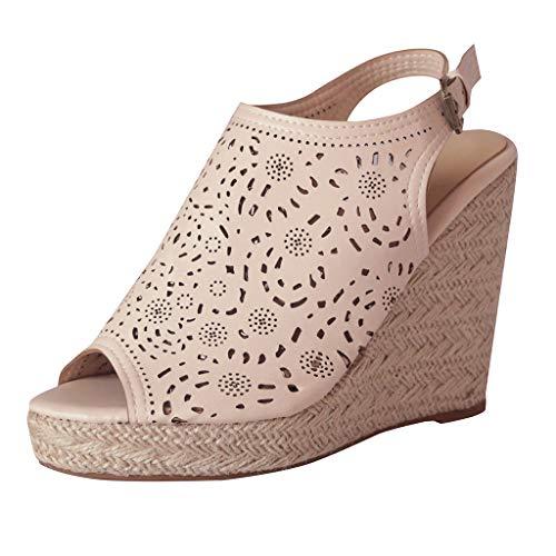 MEIbax Sandali Donna, Sandali con Zeppa Cava con Motivo Floreale Vintage Donna Estivi Comode Platform Sandalo Eleganti Plateau Scarpe con Tacco per Camminare Donne Elegante Shoes