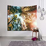 xkjymx Landschaftsbäume Stil Tapisserie Stoff Dekor Decke Tapisserie Wandbehang Stoff Decke Yoga Teppich