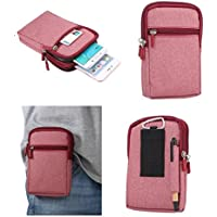 DFV mobile - Universal Multi-functional Vertical Stripes Pouch Bag Case Zipper Closing Carabiner for => LG Prada 3.0 > Red (17 x 10.5 cm)