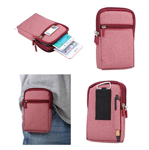DFV mobile - Universal Multi-functional Vertical Stripes Pouch Bag Case Zipper Closing Carabiner for => HTC Aria > Red (17 x 10.5 cm)