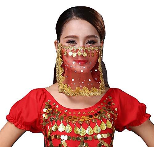 PICCOLI MONELLI Velo Viso Danza del Ventre Accessorio Carnevale per odalisca Ragazza Donna Bambina Colore Rosso e Oro