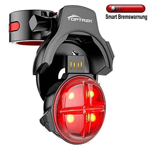TOPTREK Fahrrad Rücklicht Smart Bremswarnung Kabelloses USB Wiederaufladbares 4 LED Rücklicht mit 5 Beleuchtungmodi Wasserdicht IPX4 Fahrradlicht Hinten FahrradLampe Fahrradbeleuchtung Passend für MTB/BMX/ Mountainbike (Die Ip-clip)