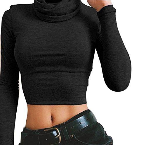 Damen Rollkragen pullover Basic Tops - Kurz Sweatshirt Bluse Sexy T- Shirt Crop Tops Schwarz S Juleya