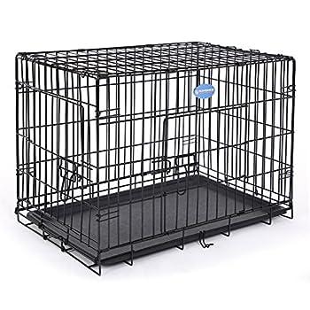 Songmics 2 Portes Cage pour chien pliable et transportable avec Poignée et Plateau 75 x 47 x 54 cm PPD30H