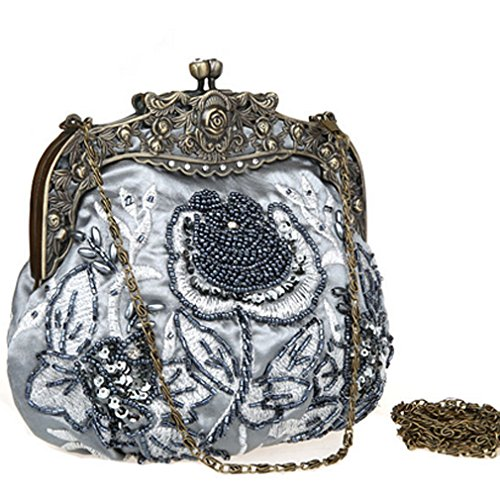 Belsen Ladies Retro Rose Beaded Bag Paillette Party Borsette Da Sposa Grigie