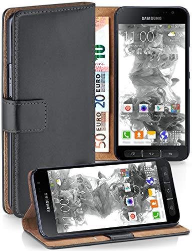 moex Samsung Galaxy Xcover 4 | Hülle Dunkel-Grau mit Karten-Fach 360° Book Klapp-Hülle Handytasche Kunst-Leder Handyhülle für Samsung Galaxy Xcover 4 Case Flip Cover Schutzhülle Tasche