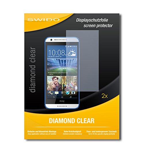 SWIDO 2 x Bildschirmschutzfolie HTC Desire 620G Dual SIM Schutzfolie Folie DiamondClear unsichtbar
