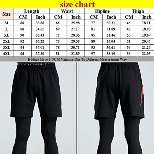 Zhhlaixing Men Sports Pants Two Piece Set Yoga Shorts Elastic Leggings Trousers Black&Red