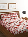 Bombay Dyeing Amber 160 TC Microfibre Double Bedsheet with 2 Pillow Covers - White