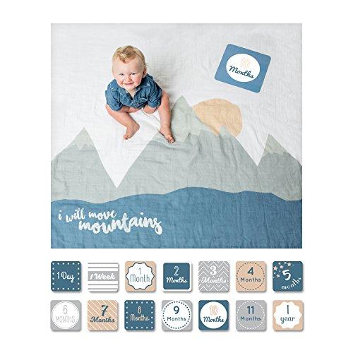 Lulujo Baby-Decke Swaddle mit 14 Monats-Karten Baby-Karten zum Fotografieren und festhalten der ersten Entwicklungsschritte Ihres Babys im ersten Lebensjahr Motiv I will move mountains