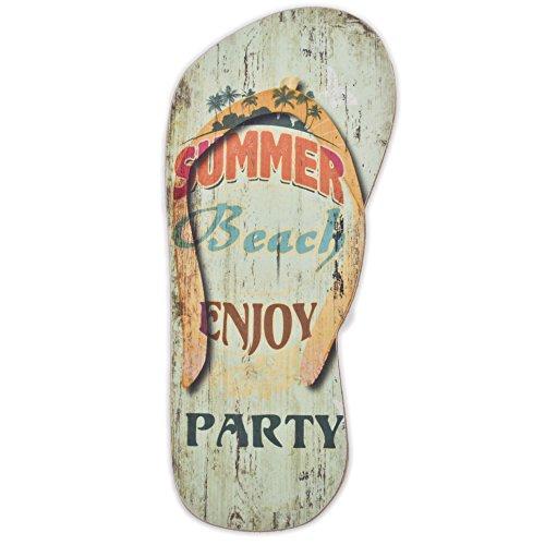 Dadeldo Holzschild Flip Flop Summer Beach Design MDF 28x12cm bunt Vintage Deko (Motiv 1)