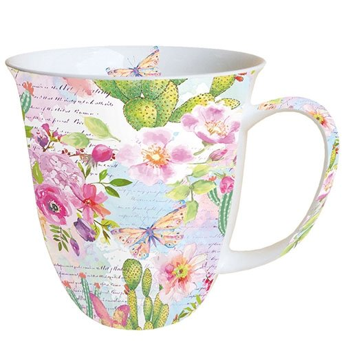 Ambiente Becher - Mug - Tasse - Tee / Kaffee Becher ca. 0,4L Roses And Cacti - Ideal Als Geschenk Ambiente, China