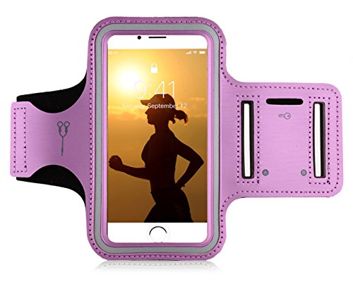 "MyGadget Sportarmband Hülle - Jogging Case Armband für 5.1"" Display Fitness Sport Armtasche für u.a. Apple iPhone XR 8 7 6, Samsung Galaxy S7 - Pink"