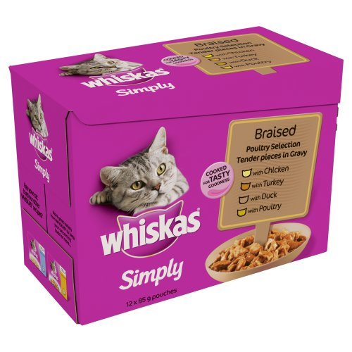 whiskas-pouch-simply-braised-poultry-in-gravy-12-x-85-g-pack-of-4-total-48-pouches