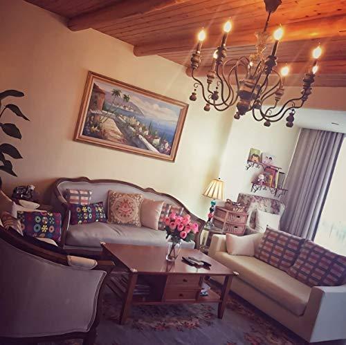 Standard-duplex-wand (Qyyru Vintage Industrie Kronleuchter Holzkunst macht alten Kronleuchter Retro Eisen Pendelleuchte Lampe Villa Wohnzimmer Decke Restaurant Duplex Gebäude dekorativ für Esszimmer, Schlafzimmer, Wohnzimm)